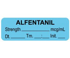 "Anesthesia Label, Alfentanil mcg/mL Date Time Initial, 1-1/2"" x 1/2"""
