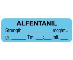 "Anesthesia Label, Alfentanil mcg/mL Date Time Initial, 1-1/2"" x 1/2"""