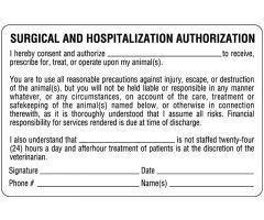 "Authorization and Consent for Treatment Label, 4"" x 2-5/8"" ULAN435"
