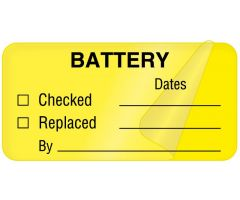"Battery and Lamp Maintenance Label, 2"" x 1"""