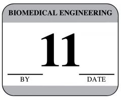 "Biomedical Engineering Inspection Label - 1-1/4"" x 1"" - Gray"