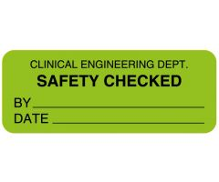 "Clinical Engineering Safety Checked Label, 2-1/4"" x 7/8"""