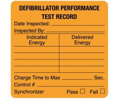 "Defibrillator Performance Test Record, 1-1/2"" x 1-1/2"""