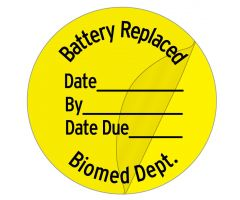 "Battery Replaced Label,1"" dia"