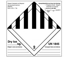 "Dry Ice Shipping Label, 5-1/2"" x 5-1/2"""