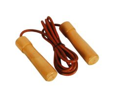 Valor Fitness Pro Leather Wood Bearing Handle Jump Rope