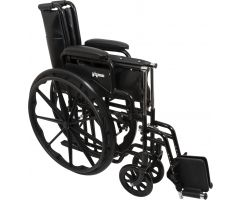 "Wheelchair with 16"" x 16"" Seat, Flip-Back Desk Arms, Swing-Away Footrests"