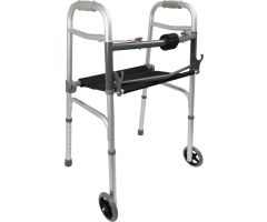 ProBasics Two-Button Folding Walker with Wheels and Roll-Up Seat